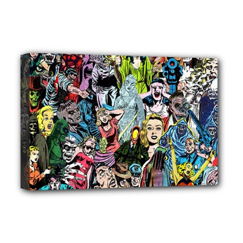 Vintage Horror Collage Pattern Deluxe Canvas 18  X 12