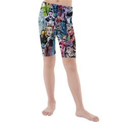 Vintage Horror Collage Pattern Kids  Mid Length Swim Shorts