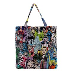 Vintage Horror Collage Pattern Grocery Tote Bag