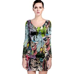 Vintage Horror Collage Pattern Long Sleeve Bodycon Dress