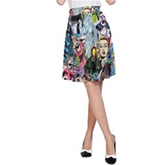 Vintage Horror Collage Pattern A-Line Skirt