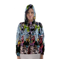 Vintage Horror Collage Pattern Hooded Wind Breaker (women)