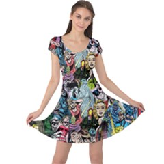 Vintage Horror Collage Pattern Cap Sleeve Dresses