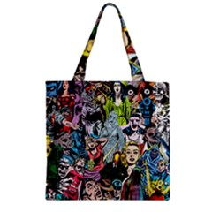 Vintage Horror Collage Pattern Zipper Grocery Tote Bag