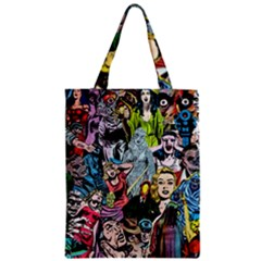 Vintage Horror Collage Pattern Zipper Classic Tote Bag