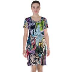 Vintage Horror Collage Pattern Short Sleeve Nightdress