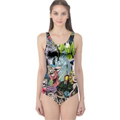 Vintage Horror Collage Pattern One Piece Swimsuit
