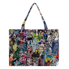 Vintage Horror Collage Pattern Medium Tote Bag