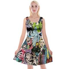 Vintage Horror Collage Pattern Reversible Velvet Sleeveless Dress