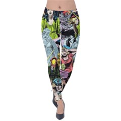 Vintage Horror Collage Pattern Velvet Leggings