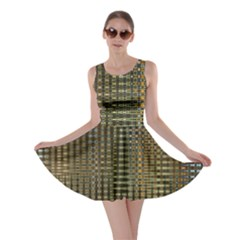 Background Colors Of Green And Gold In A Wave Form Skater Dress