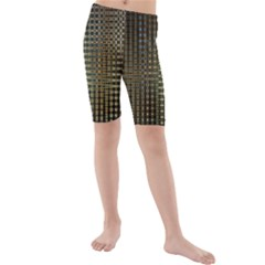 Background Colors Of Green And Gold In A Wave Form Kids  Mid Length Swim Shorts