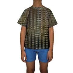 Background Colors Of Green And Gold In A Wave Form Kids  Short Sleeve Swimwear