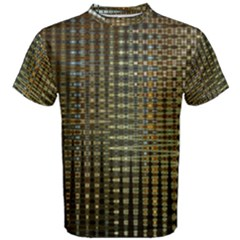 Background Colors Of Green And Gold In A Wave Form Men s Cotton Tee