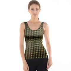 Background Colors Of Green And Gold In A Wave Form Tank Top