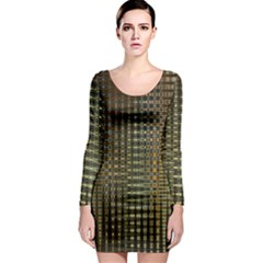 Background Colors Of Green And Gold In A Wave Form Long Sleeve Bodycon Dress