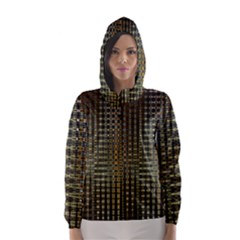 Background Colors Of Green And Gold In A Wave Form Hooded Wind Breaker (women)