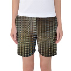 Background Colors Of Green And Gold In A Wave Form Women s Basketball Shorts