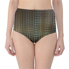 Background Colors Of Green And Gold In A Wave Form High-Waist Bikini Bottoms
