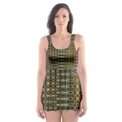 Background Colors Of Green And Gold In A Wave Form Skater Dress Swimsuit