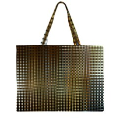 Background Colors Of Green And Gold In A Wave Form Zipper Large Tote Bag