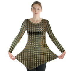 Background Colors Of Green And Gold In A Wave Form Long Sleeve Tunic