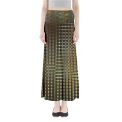 Background Colors Of Green And Gold In A Wave Form Full Length Maxi Skirt