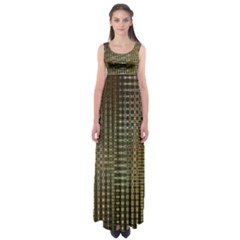 Background Colors Of Green And Gold In A Wave Form Empire Waist Maxi Dress