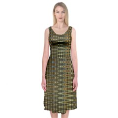 Background Colors Of Green And Gold In A Wave Form Midi Sleeveless Dress