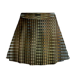 Background Colors Of Green And Gold In A Wave Form Mini Flare Skirt