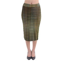 Background Colors Of Green And Gold In A Wave Form Midi Pencil Skirt