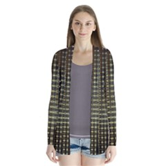 Background Colors Of Green And Gold In A Wave Form Drape Collar Cardigan