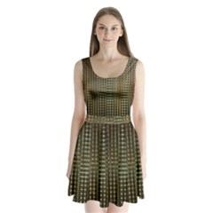 Background Colors Of Green And Gold In A Wave Form Split Back Mini Dress