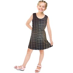 Background Colors Of Green And Gold In A Wave Form Kids  Tunic Dress