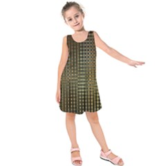 Background Colors Of Green And Gold In A Wave Form Kids  Sleeveless Dress