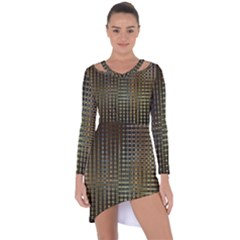 Background Colors Of Green And Gold In A Wave Form Asymmetric Cut Out Shift Dress