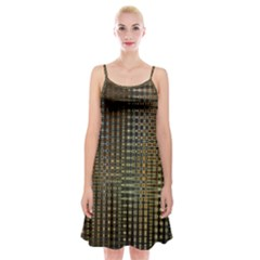 Background Colors Of Green And Gold In A Wave Form Spaghetti Strap Velvet Dress