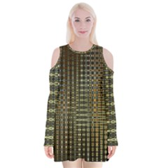 Background Colors Of Green And Gold In A Wave Form Velvet Long Sleeve Shoulder Cutout Dress