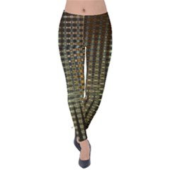 Background Colors Of Green And Gold In A Wave Form Velvet Leggings