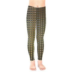 Background Colors Of Green And Gold In A Wave Form Kids  Legging