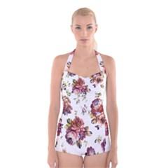 Texture Pattern Fabric Design Boyleg Halter Swimsuit