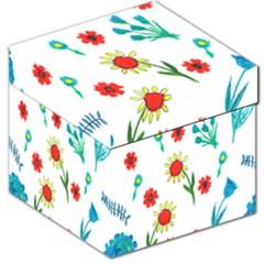 Flowers Fabric Design Storage Stool 12