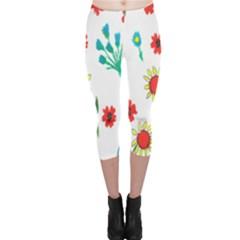 Flowers Fabric Design Capri Leggings