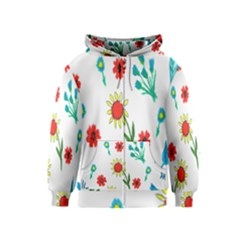 Flowers Fabric Design Kids  Zipper Hoodie