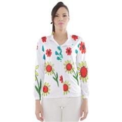 Flowers Fabric Design Wind Breaker (women)