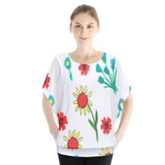 Flowers Fabric Design Blouse