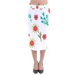 Flowers Fabric Design Velvet Midi Pencil Skirt