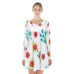 Flowers Fabric Design Long Sleeve Velvet V Neck Dress