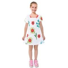 Flowers Fabric Design Kids  Short Sleeve Velvet Dress