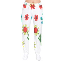 Flowers Fabric Design Drawstring Pants